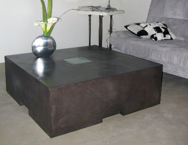 Muebles de microcemento en mesita comedor